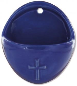 Keramik-Weihwasserbecken Kreuz - blau