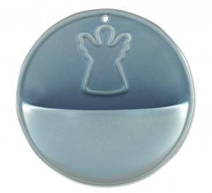 Keramik-Weihwasserbecken Engel - grau
