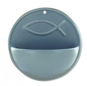 Keramik-Weihwasserbecken Fisch - grau