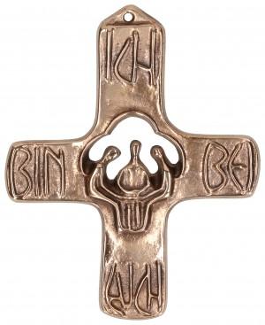 Kommunionkreuz aus Bronze - Ich bin bei euch