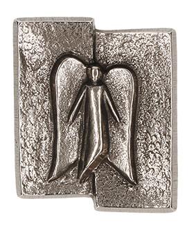 Kreuzplakette Schutzengel aus Neusilber