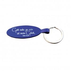 Jahreslosung 2014 auf einem Schlüsselanhänger aus blau eloxiertem Metall