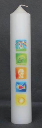 Erstkommunionkerze mit Symbolen