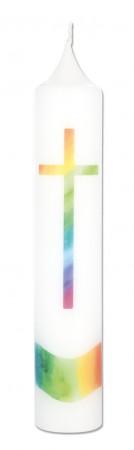 Kommunionkerze mit Druckmotiv Regenbogenkreuz