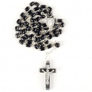 Rosenkranz aus Kunststoff mit schwarzen Perlen - Größe:54 cm