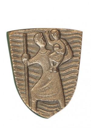 Autoplakette Christophorus aus Bronze aus dem Kloster Maria Laach