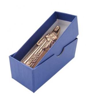 Figur Heilige Hildegard von Bingen, in blauer Geschenkbox