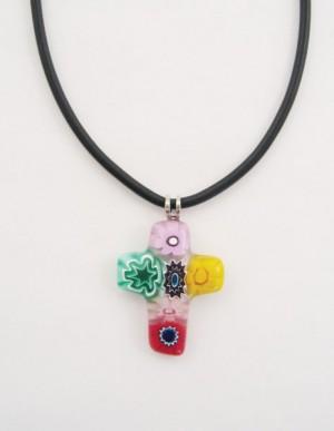 Kreuz, mehrfarbig, aus venezianischem Muranoglas, mit Schnur
