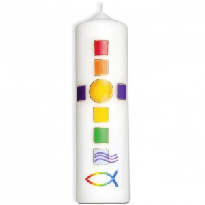 Kerze - Mosaik-Regenbogenkreuz
