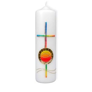 Kerze - Kreuz/Ichthys