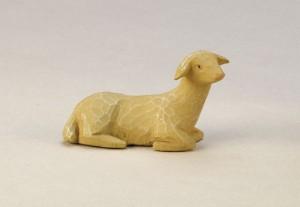 Krippenfigur Schaf, liegend, rechtsschauend
