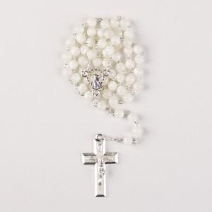 Rosenkranz aus Perlmutt mit weißen Perlen - Größe: 30 cm