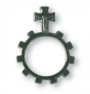 Finger-Rosenkranz aus Metall mit silberfarbenen Noppen