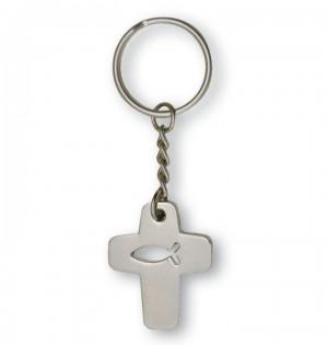 Schlüsselanhänger in kreuzform mit Fisch-Symbol