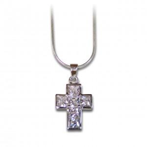 Halskette mit Anhänger Kreuz Zirkonia
