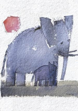 Elefant mit Sonne