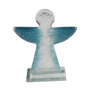 Glasengel, transparent mit blauen Flügeln