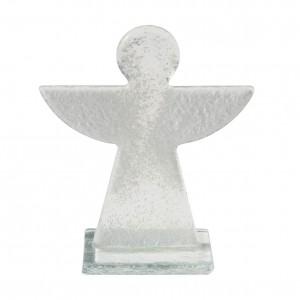 Glasengel, transparent mit weißen Flügeln