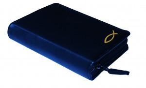 Gotteslobhülle Rindsleder DELUXE mit Motivprägung blau - Goldprägung Fisch