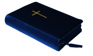 Gotteslobhülle Kunstleder mit Motivprägung blau - Goldfolienprägung Kreuz