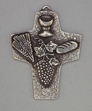 Kommunionkreuz - Silberkreuz Kelch, Ähren, Brot und Trauben