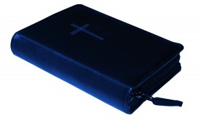 Gotteslobhülle Rindsleder DELUXE mit Motivprägung blau - Blindprägung Kreuz