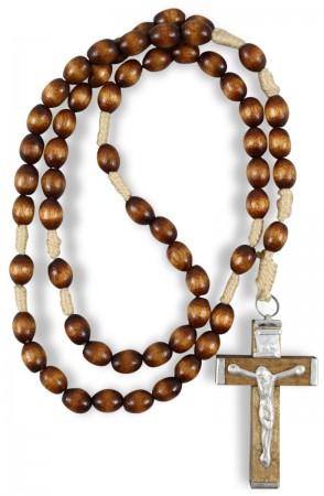 geknüpfter Holzrosenkranz mit Corpus Kreuz