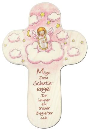 Kinderholzkreuz Engel mit Harfe
