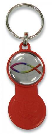 Schlüsselanhänger Einkaufswagenchip in rot