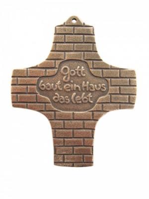 Bronzekreuz - Gott baut ein Haus, das lebt