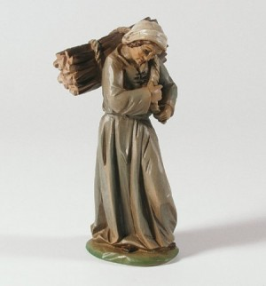 Krippenfigur Hirtin mit Holzbündel