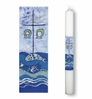 Taufkerze mit Fische-Symbol