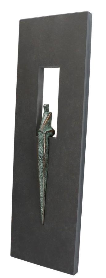 Schieferrelief mit Bronzefigur TIME