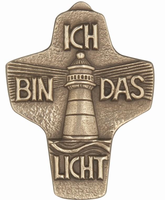 Kommunionkreuz - Bronzekreuz Ich bin das Licht