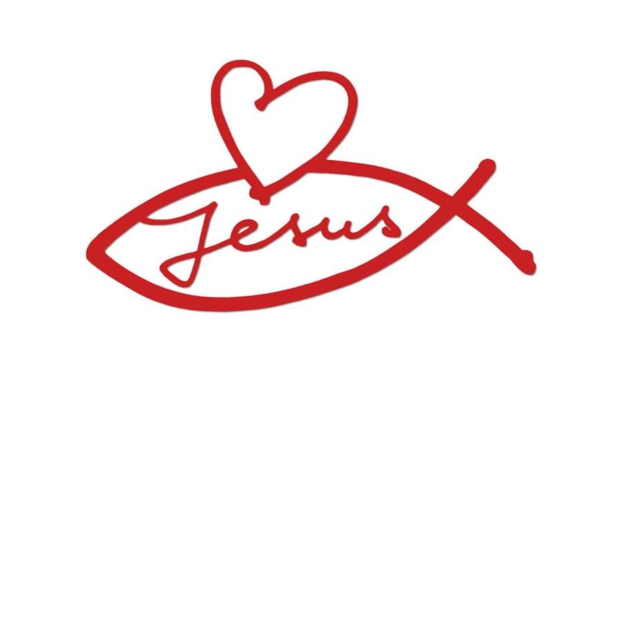 Autoaufkleber - Herz-Jesus-Fisch