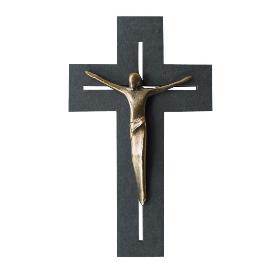 Schieferkreuz mit Bronzecorpus