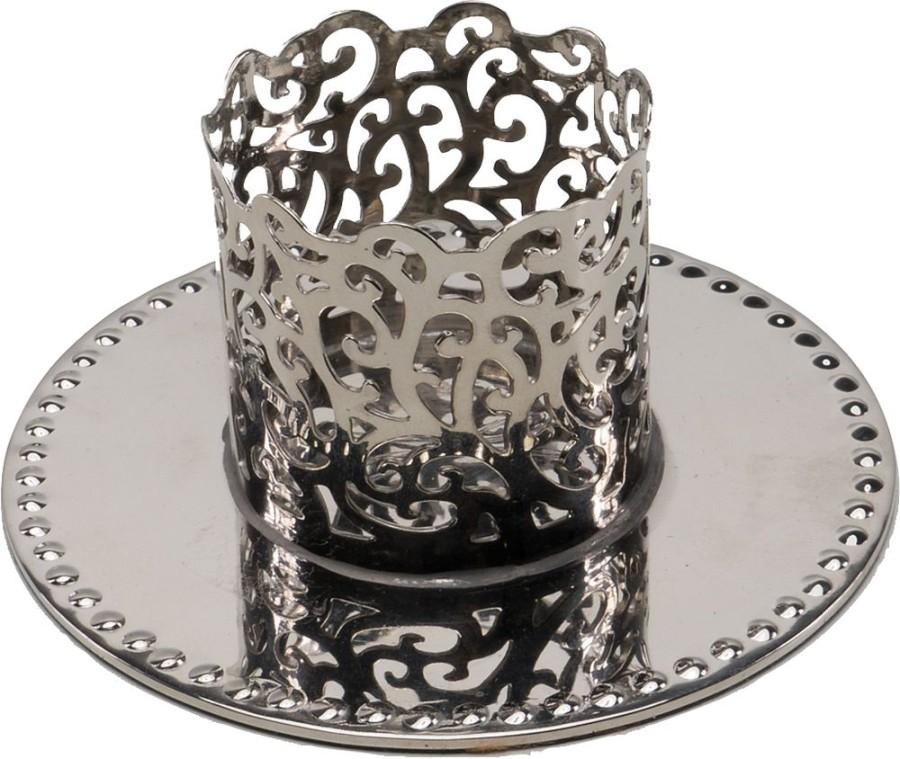 Kerzenleuchter Feine Ornamentik aus Messing vernickelt