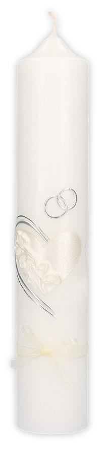 Hochzeitskerze mit Wachsmotiv Herz und Ringe in Silber, mit Schleife
