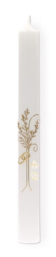 Hochzeitskerze mit Wachsmotiv Baum und Ringe in Gold