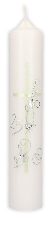 Silberhochzeitskerze mit Wachsmotiv Kreuz, Blumenranke, Ringe und Zahl 25 in Silber