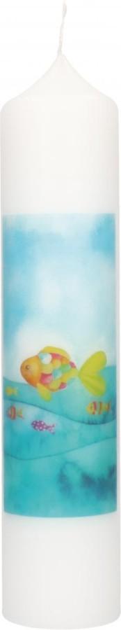 Taufkerze mit Druckmotiv Regenbogenfische