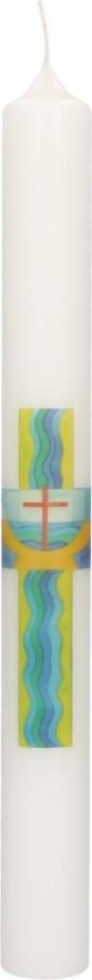 Taufkerze mit Druckmotiv Kreuz, Taufbecken und Wellen