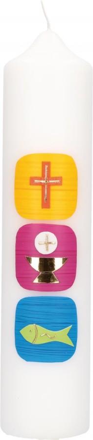 Kommunionkerze mit Wachsmotiv Kreuz, Kelch und Fisch in Gold