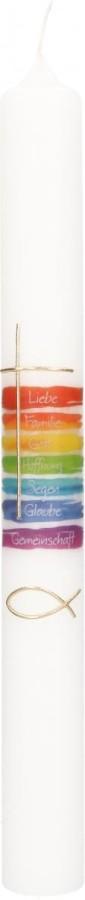 Kommunionkerze mit Druckmotiv und aufgelegtem Wachsmotiv Regenbogenfarben mit Kreuz und Fisch in Gold