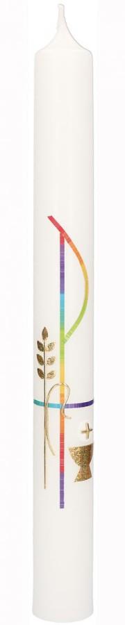 Kommunionkerze mit Wachsmotiv PX in Regenbogenfarben, Kelch und Ähre in Gold