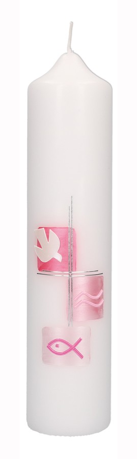 Taufkerze mit Wachsmotiv Taube mit Kreuz in Silber, Fisch und Wellen in Rosa
