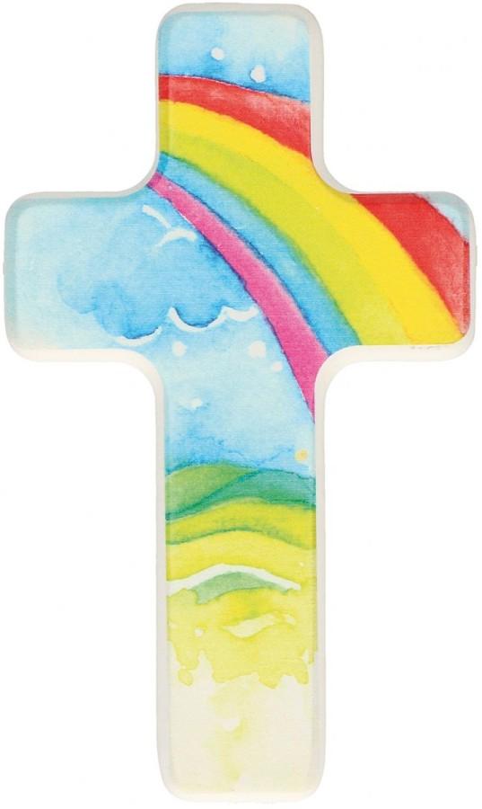 Kinderholzkreuz Regenbogen
