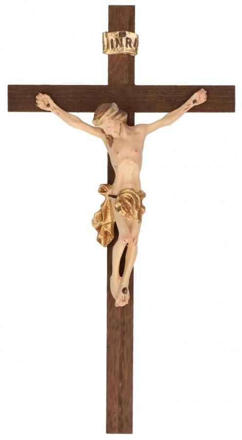 Holzkreuz dunkel mit Holzkorpus koloriert
