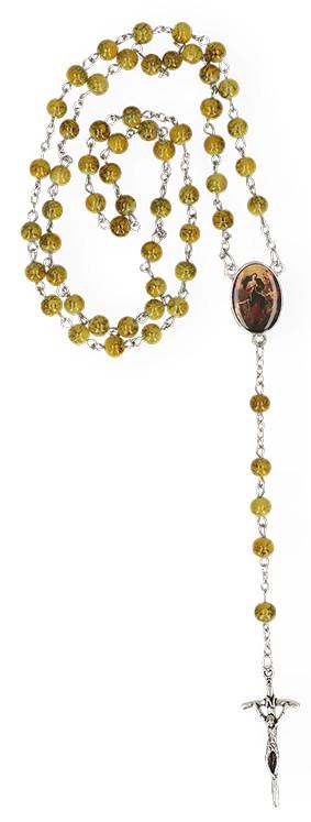 Rosenkranz mit gelb-marmorierten Glasperlen