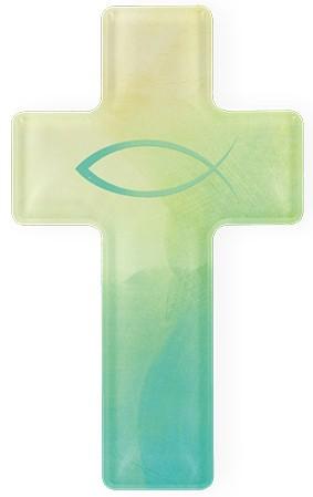 Kreuz aus Acryl Fisch